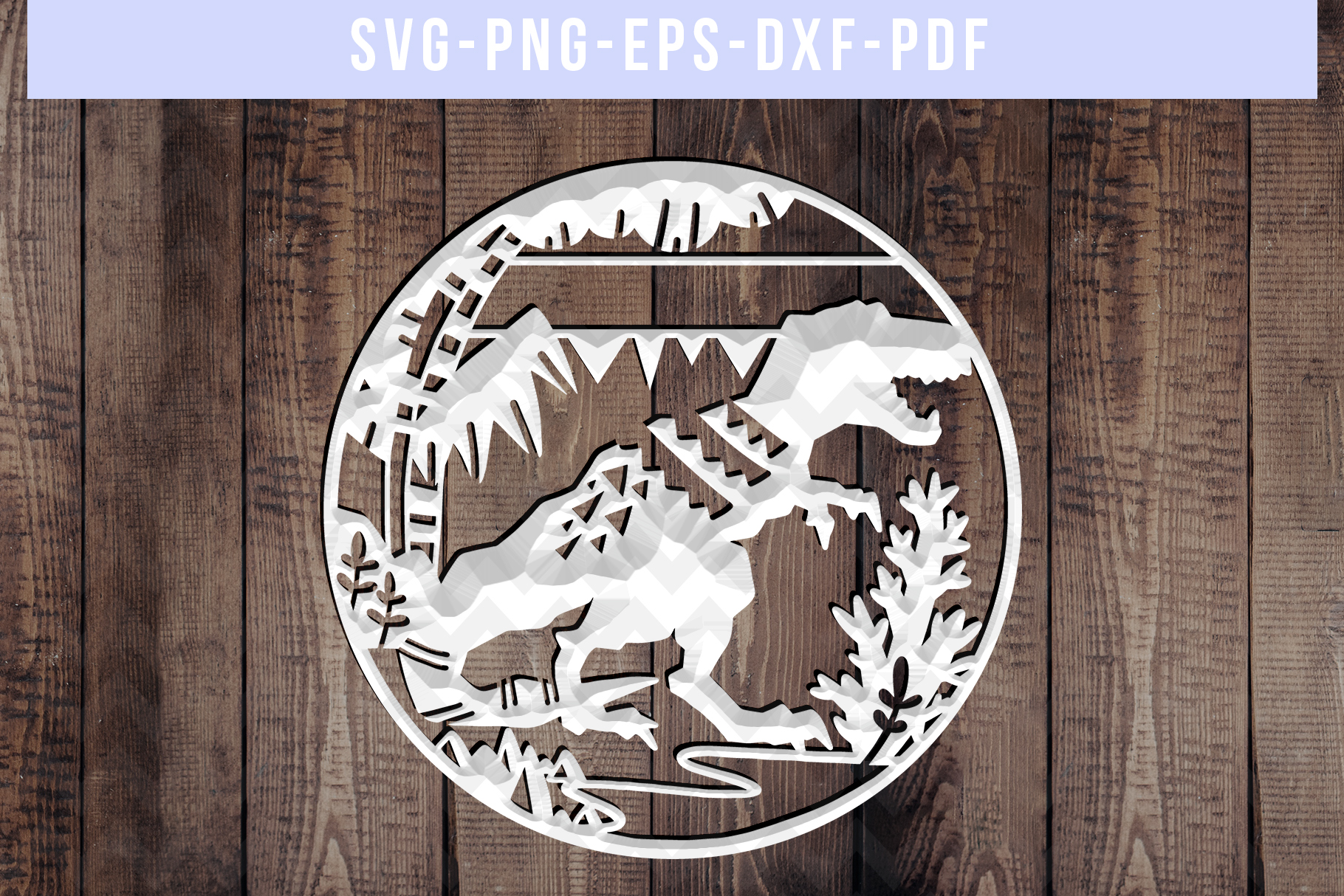 Customizable Dinosaur Papercut Template, T-Rex SVG, DXF, PDF example image 4