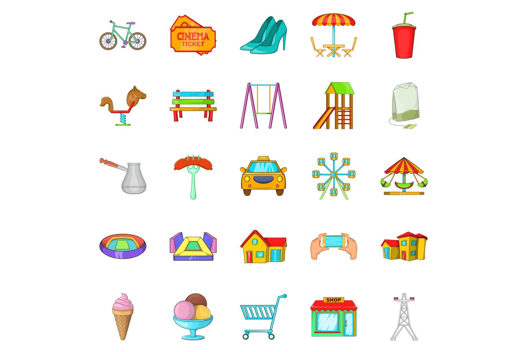 Playground icons set, cartoon style example image 1
