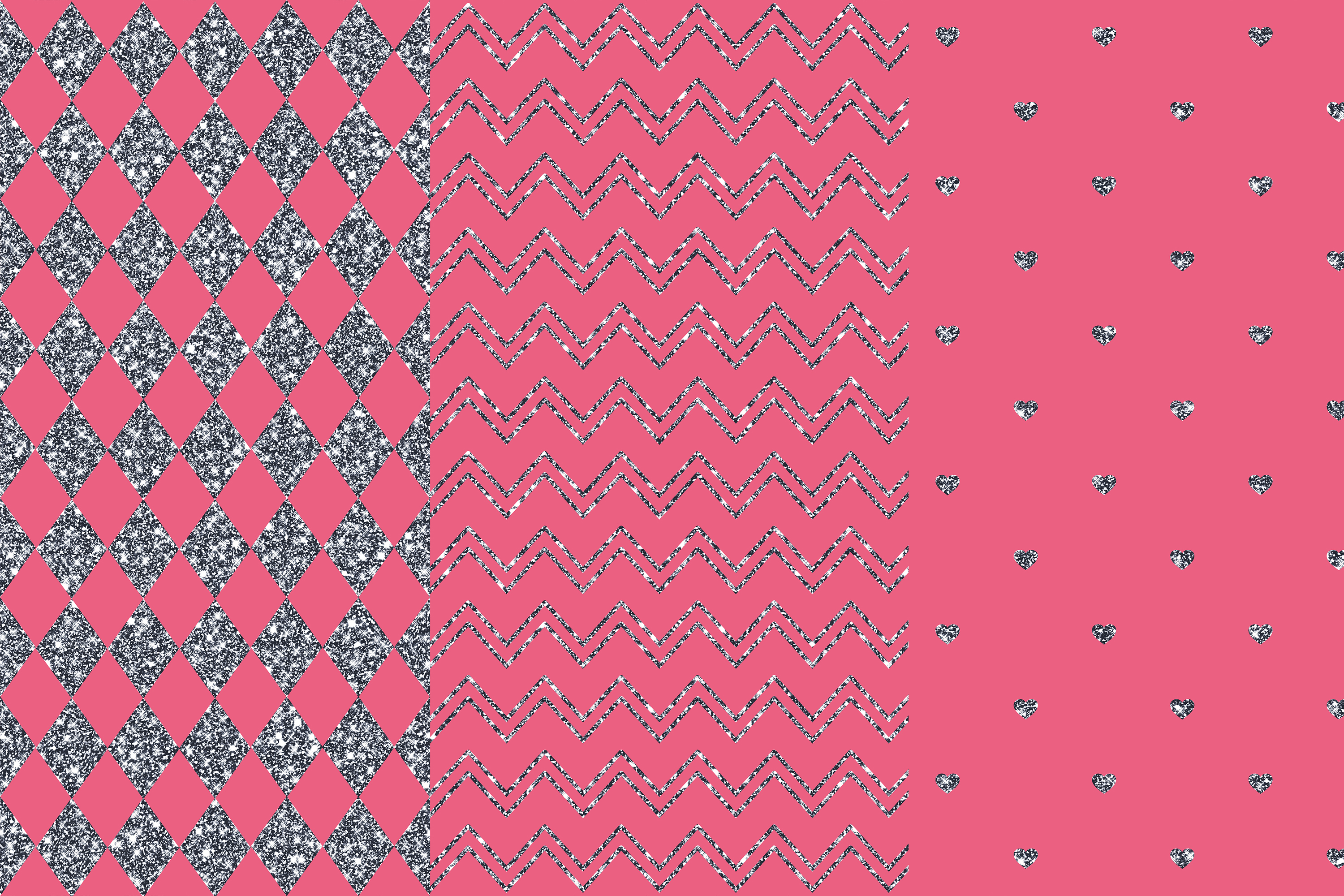 Silver Pink Glitter Digital Papers, Silver Patterns example image 2