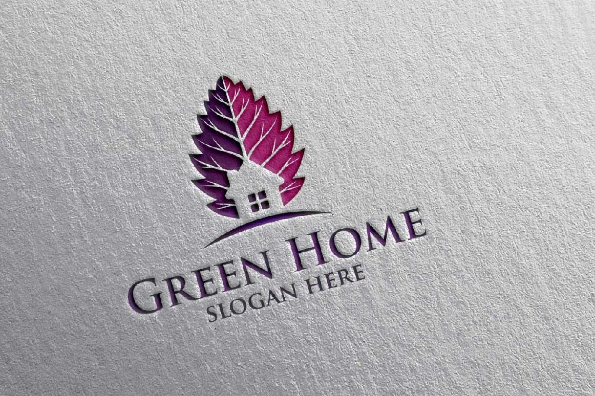 Real estate Logo, Green Home Logo 20 example image 5