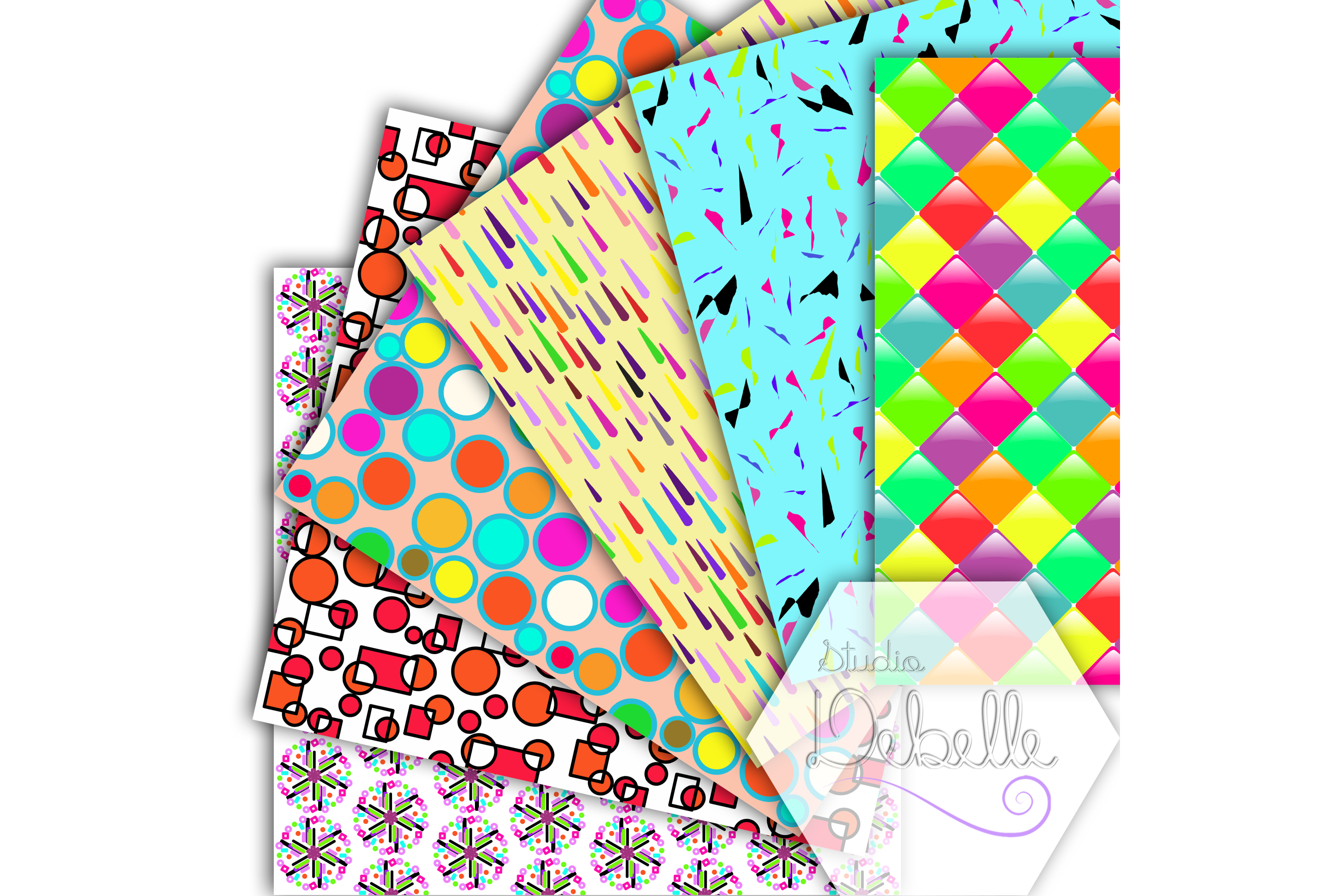 Fun and Colorful digital papers seamless pattern example image 2