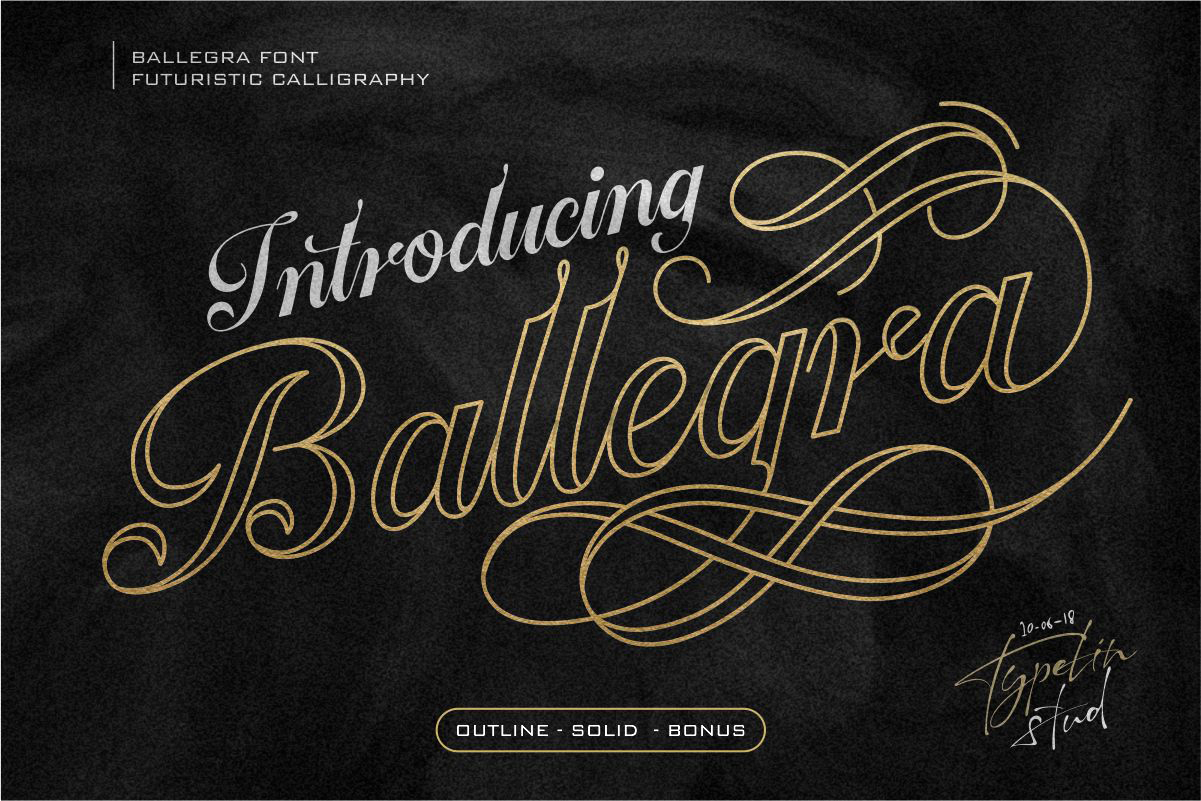 Ballegra Solid & Outline Script example image 1