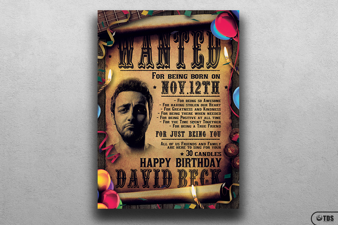 Wanted Birthday Party Flyer Template example image 1