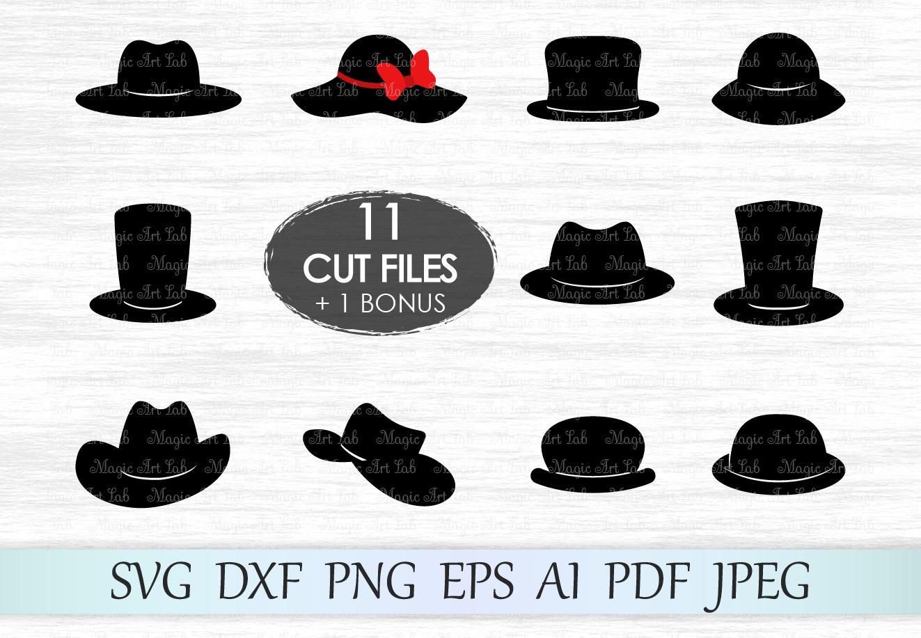 Hat svg, Hats clipart, Photo booth, Bowler svg, Cowboy hat svg, Derby hat svg, Top hat svg, Floppy hat svg, Woman hat cut file, Hat svg bundle example image 1