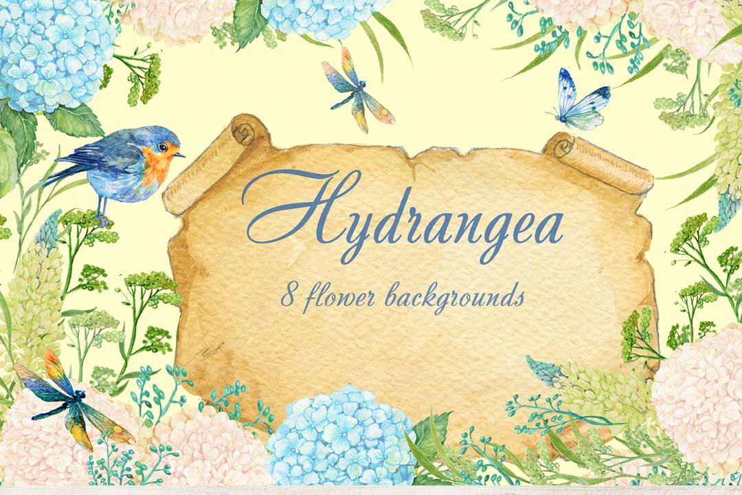 hydrangea watercolor clipart example image 4