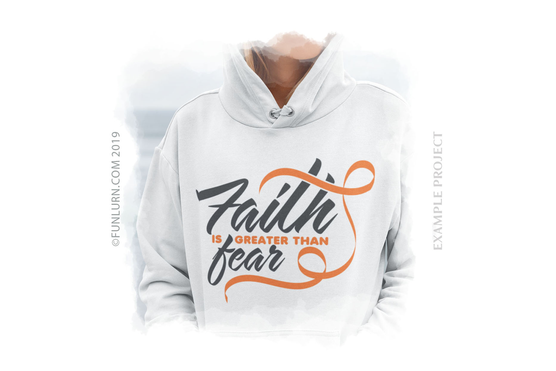 Faith is Greater Than Fear Orange Ribbon SVG Cut File example image 3