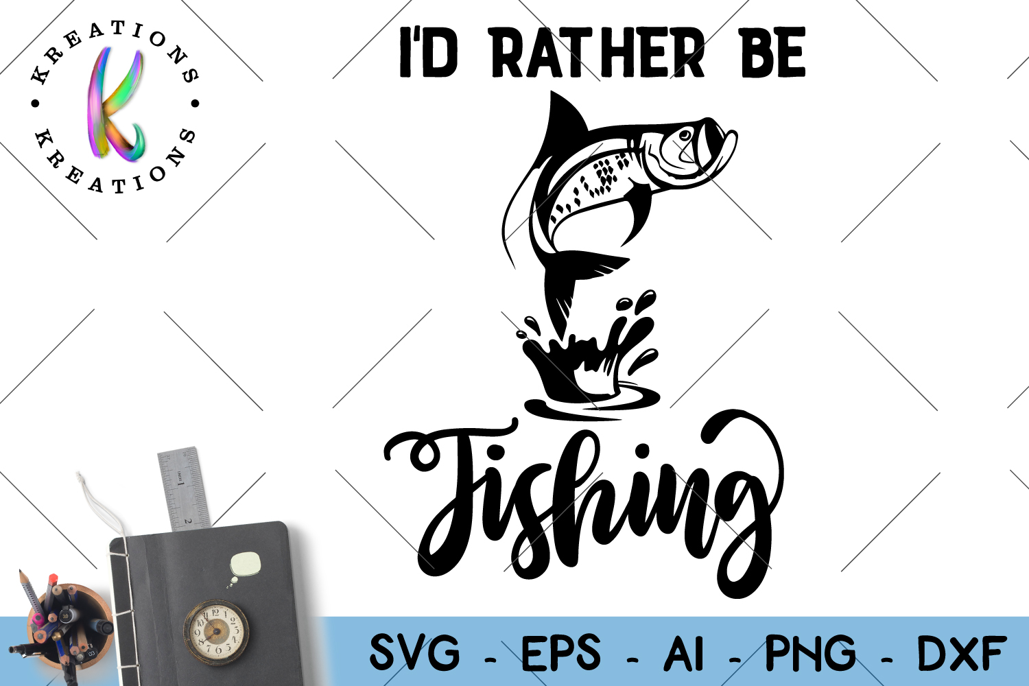 Fishing Svg I'd rather be fishing cut file  example image 1