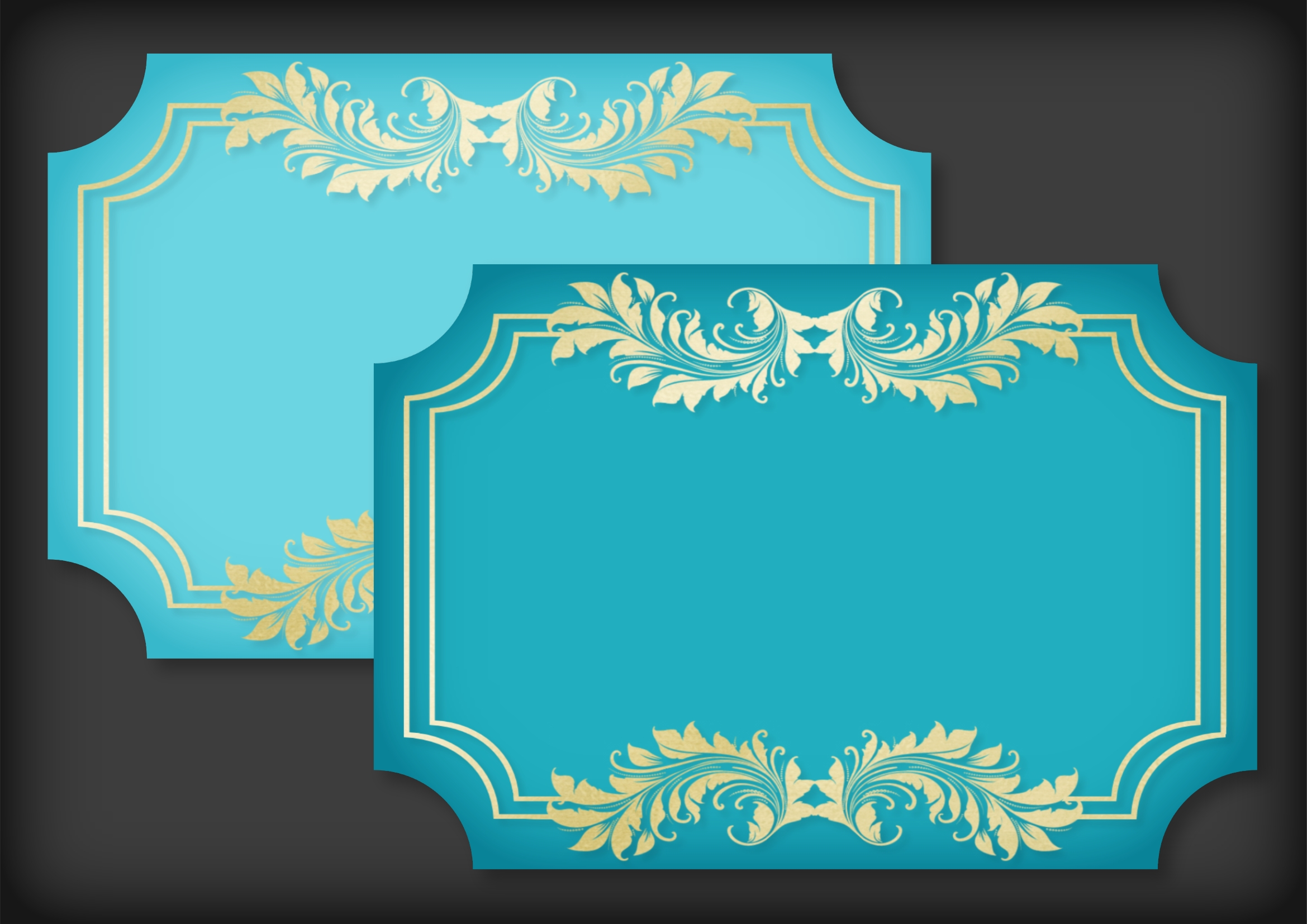 Teal and Soft Gold Mat Frame Doily example image 3