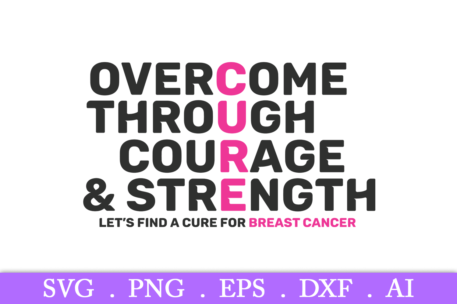 SALE! Overcome through courage svg, breast cancer svg example image 2