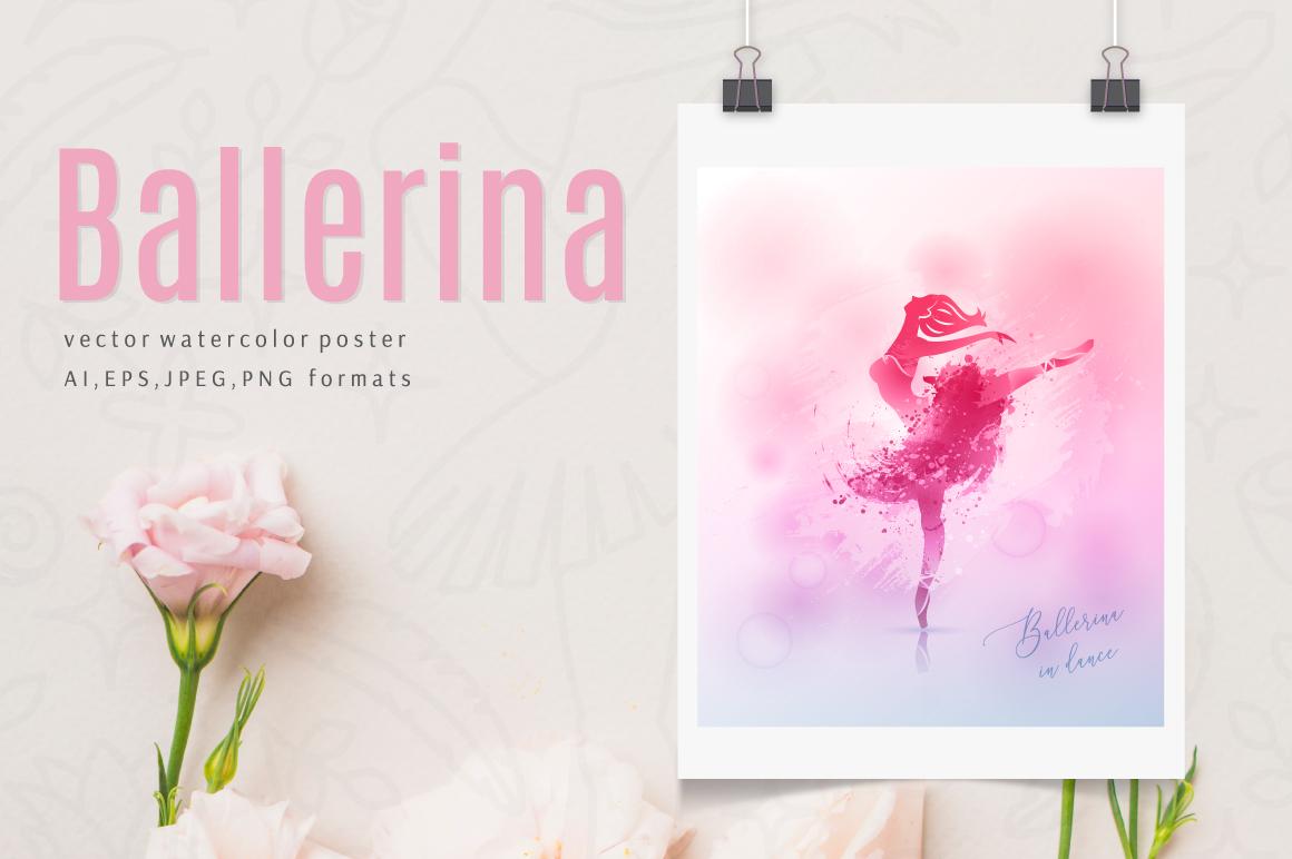 Watercolor poster - Ballerina example image 1