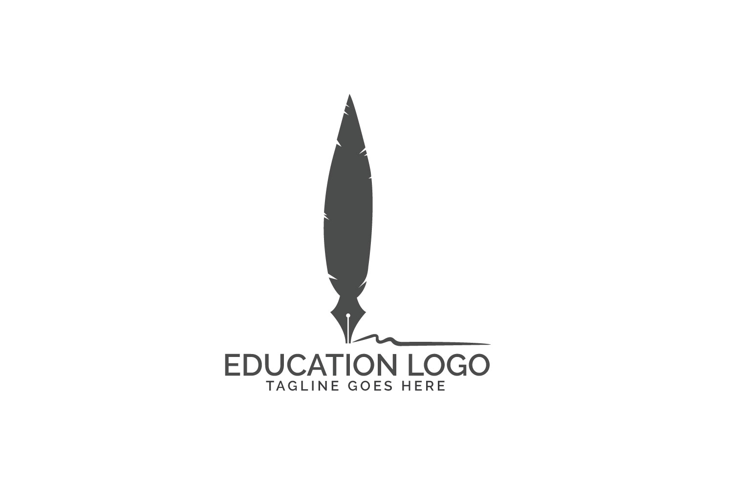 Quill Feather Pen Logo design. example image 2
