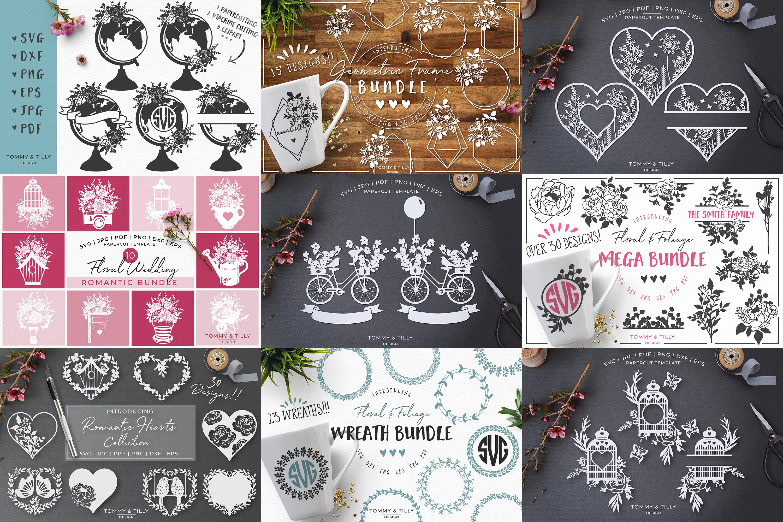 MEGA BUNDLE! Romantic Cut Files - SVG | Papercut example image 2