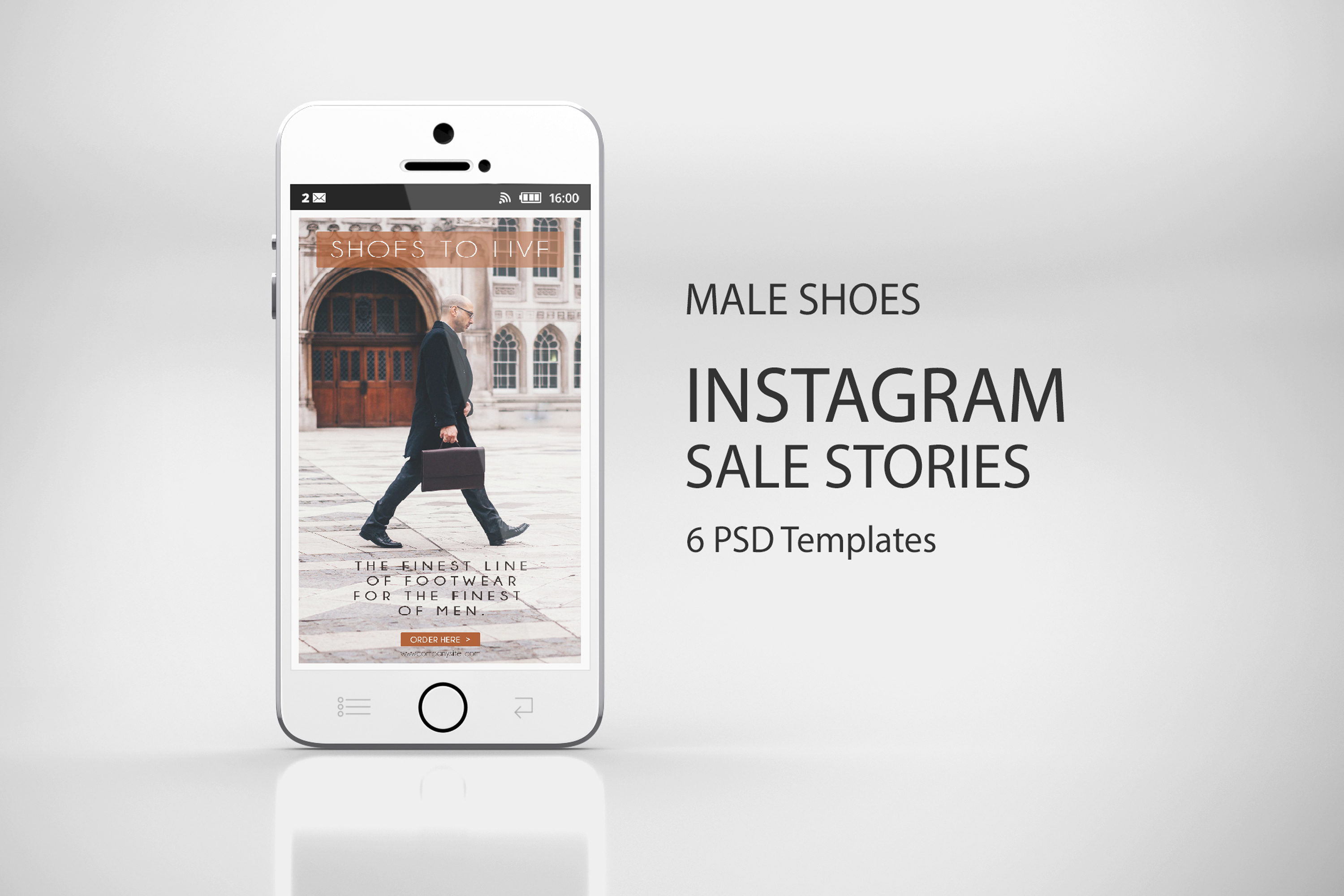 Male Shoes Sale Insta-Story - 6 Templates PSD example image 7