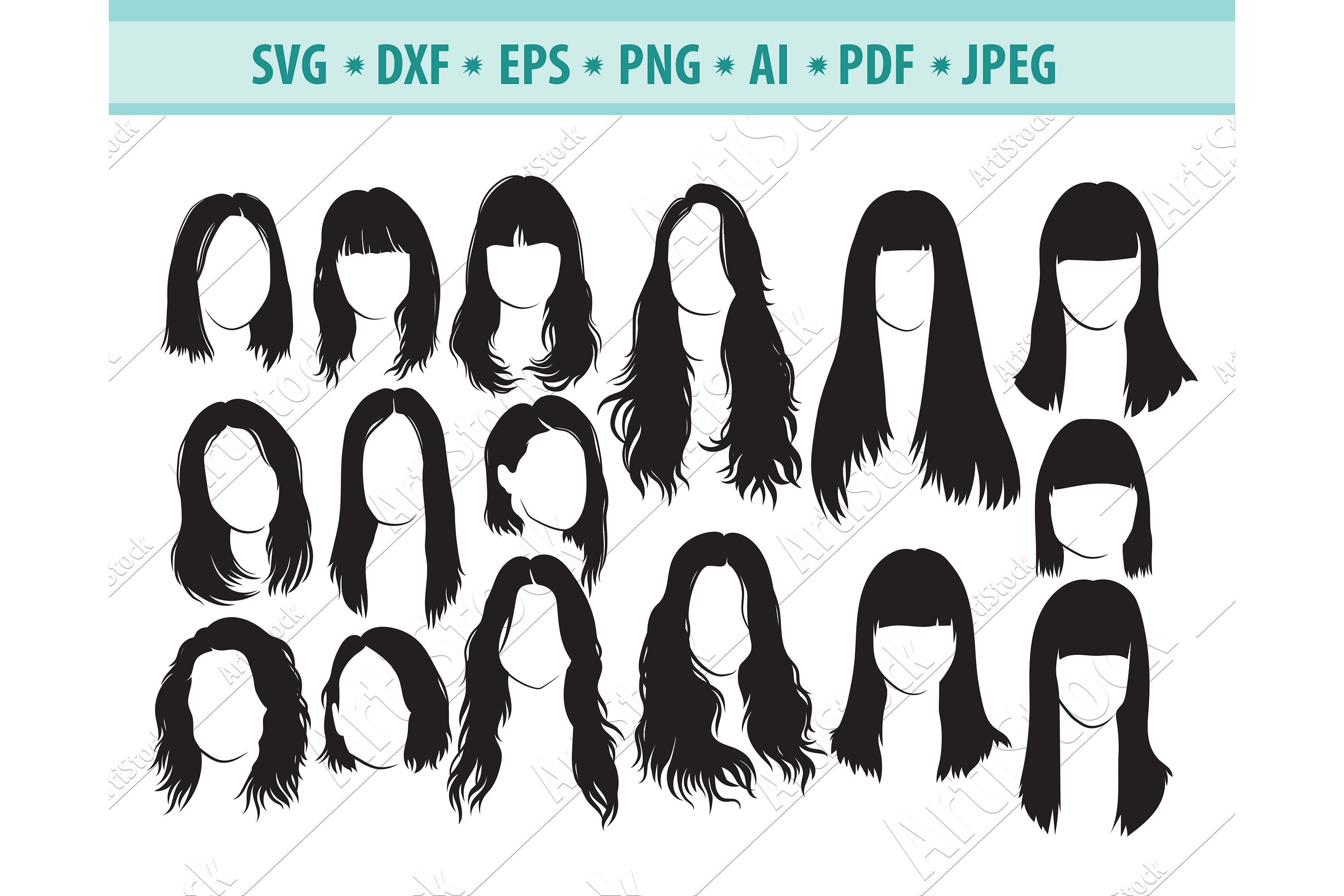 Woman haircuts SVG, Female haircut Png, Hairdresser Eps, Dxf example image 1