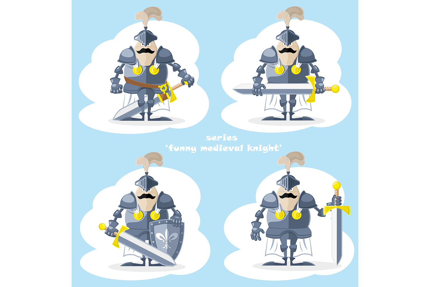Set of 20 figure funny medieval knight or soldier. Vector illustration example image 4