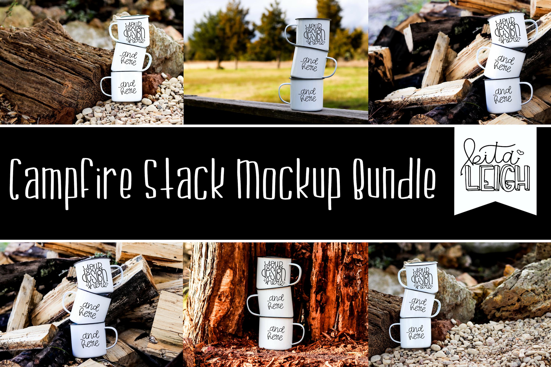 Three Stack White Campfire Mug Mockup Bundle example image 1