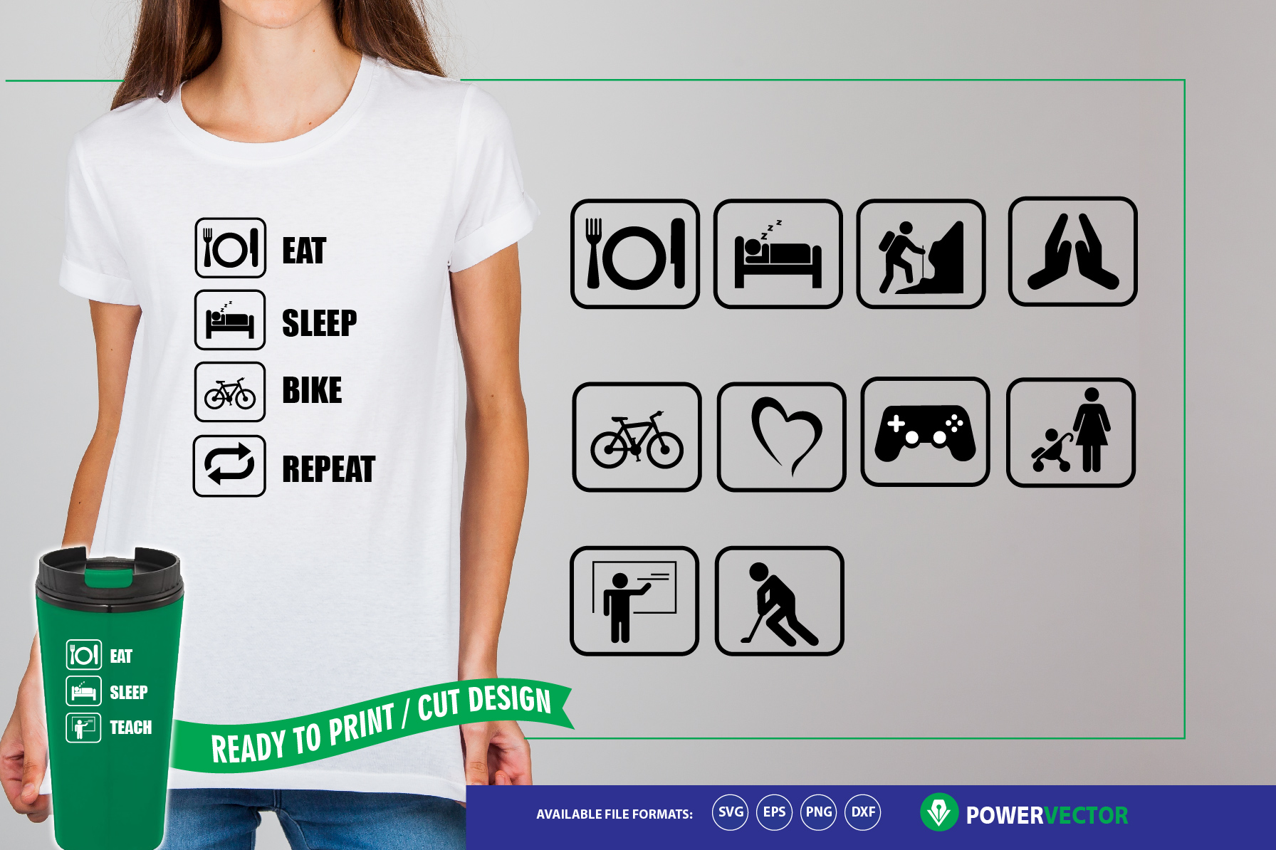 Eat Sleep Repeat Icons Svg Cut File for Crafters example image 1