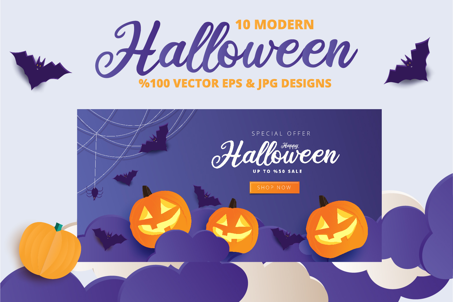 Halloween Sale header or banner design and invitation flyer example image 8