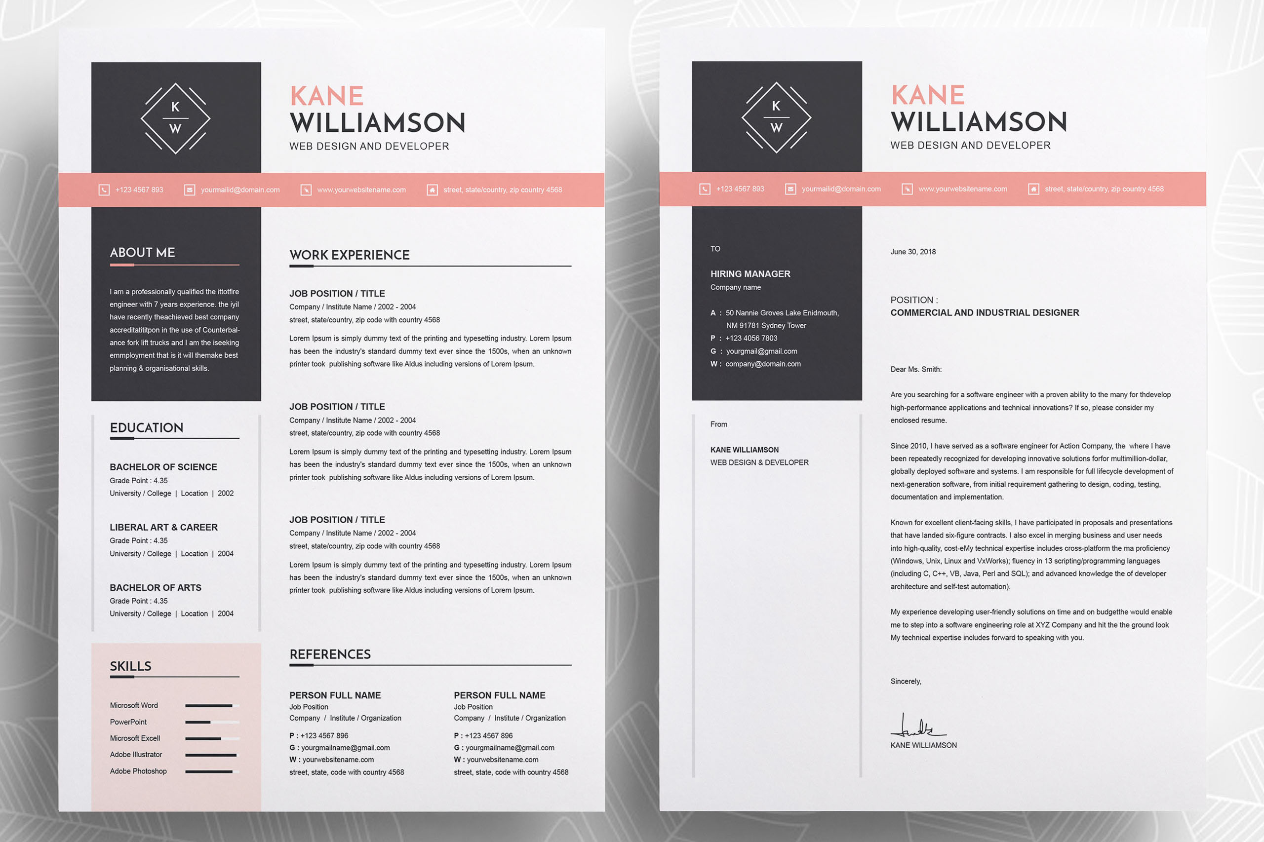 Professional Resume Template | MS Word CV Design Template example image 2