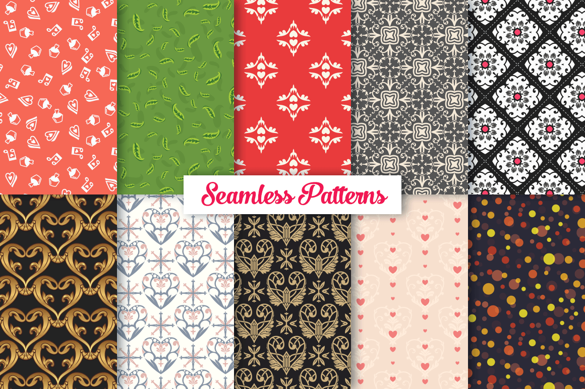 100 Heart Vector Ornaments and Seamless Patterns example image 8