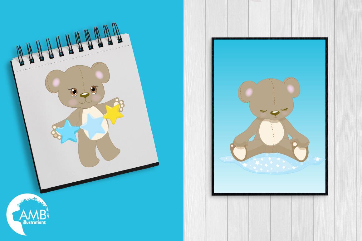 Teddy bear, nursery, baby boy, baby blue bear, clipart, graphics, llustrations AMB-980 example image 3
