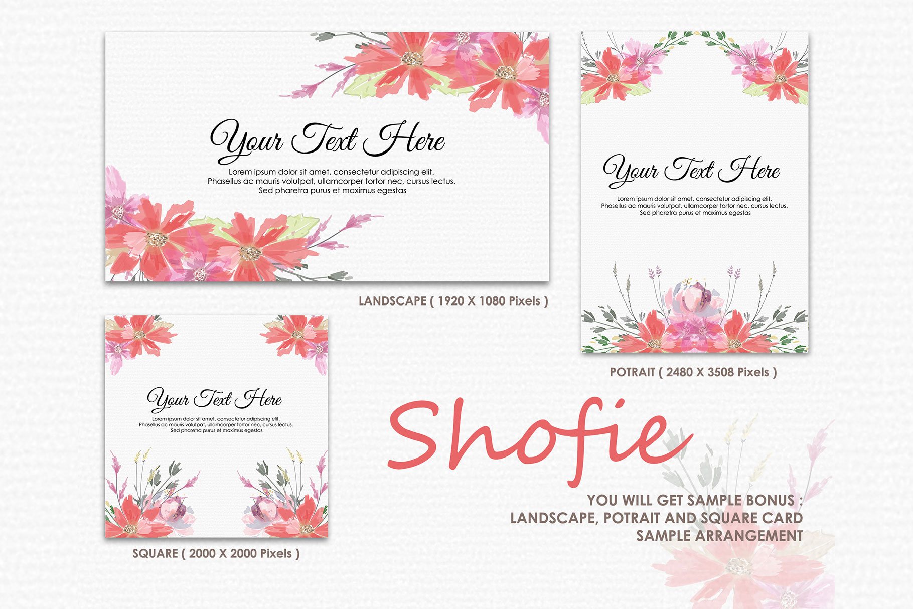Shofie - Digital Watercolor Floral Flower Style Clipart example image 4