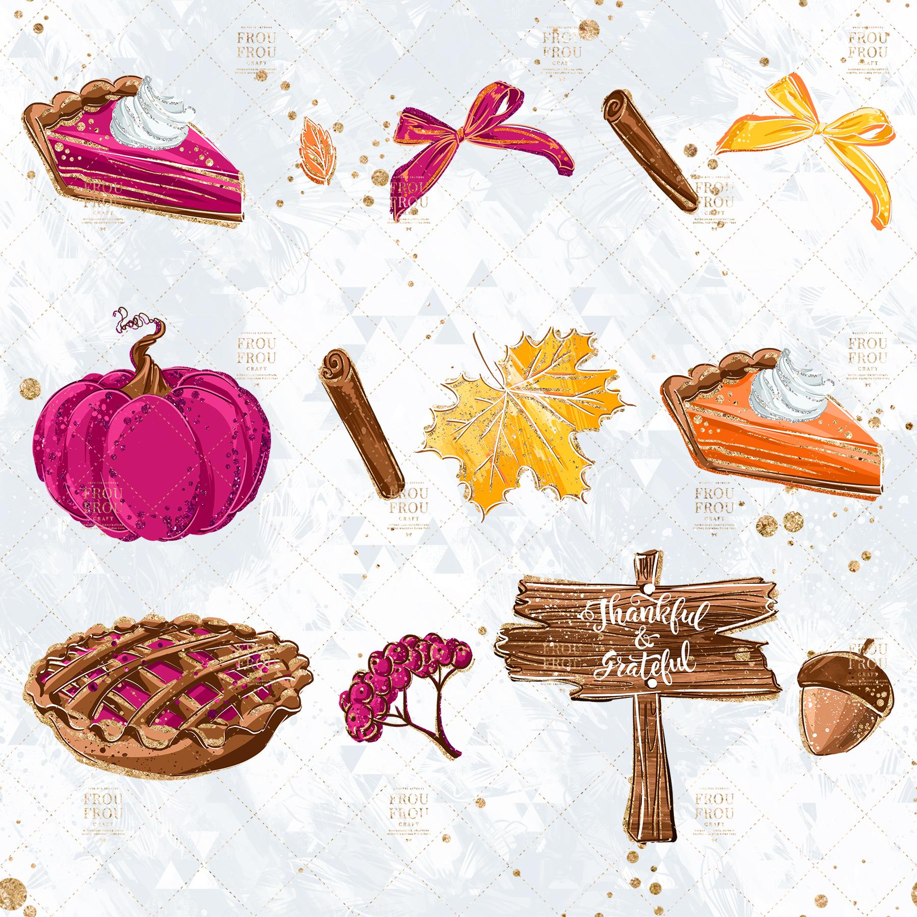 Sweets Cake Pumpkin Pie Fall Autumn Clip Art example image 6
