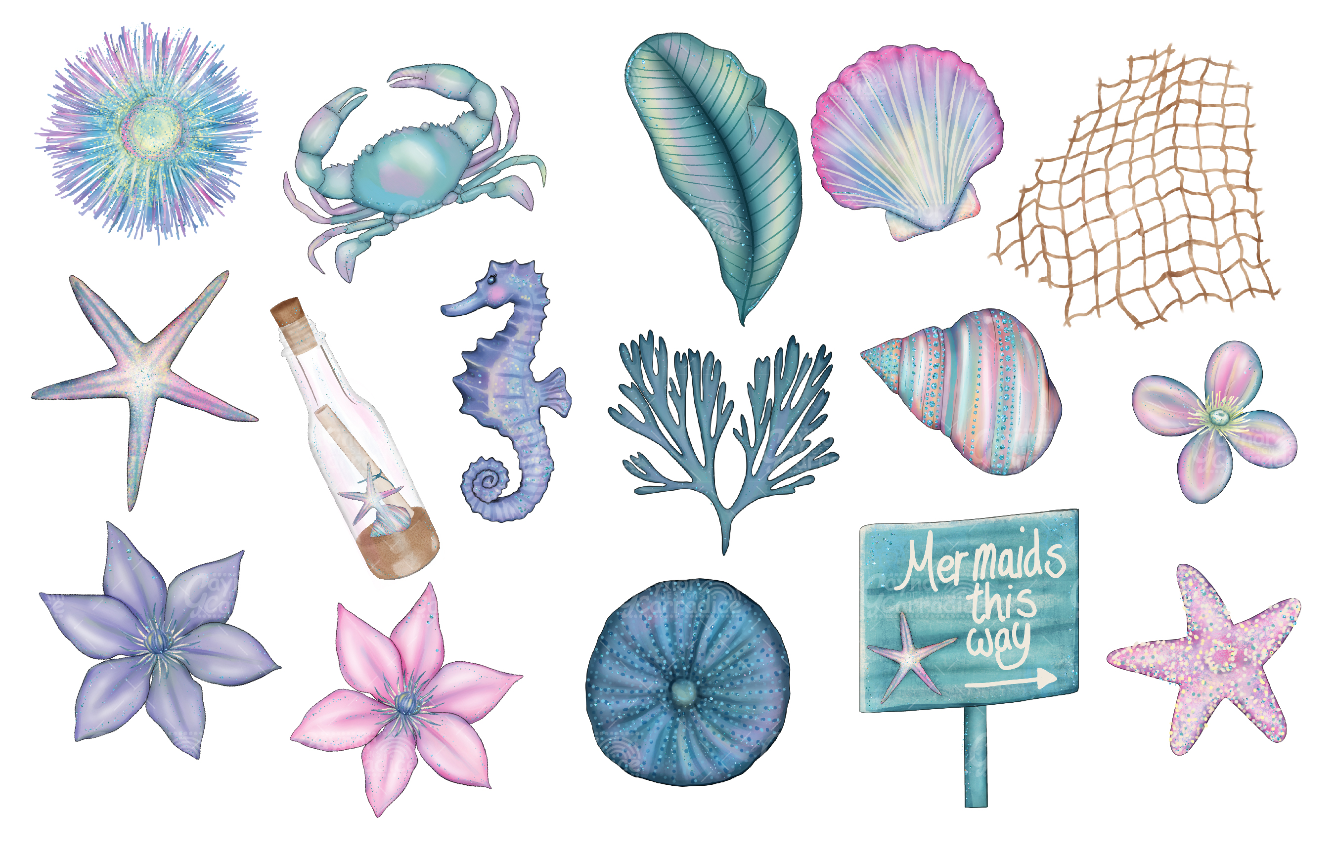 I washed up like this - watercolor Mermaid Clipart collectio example image 4