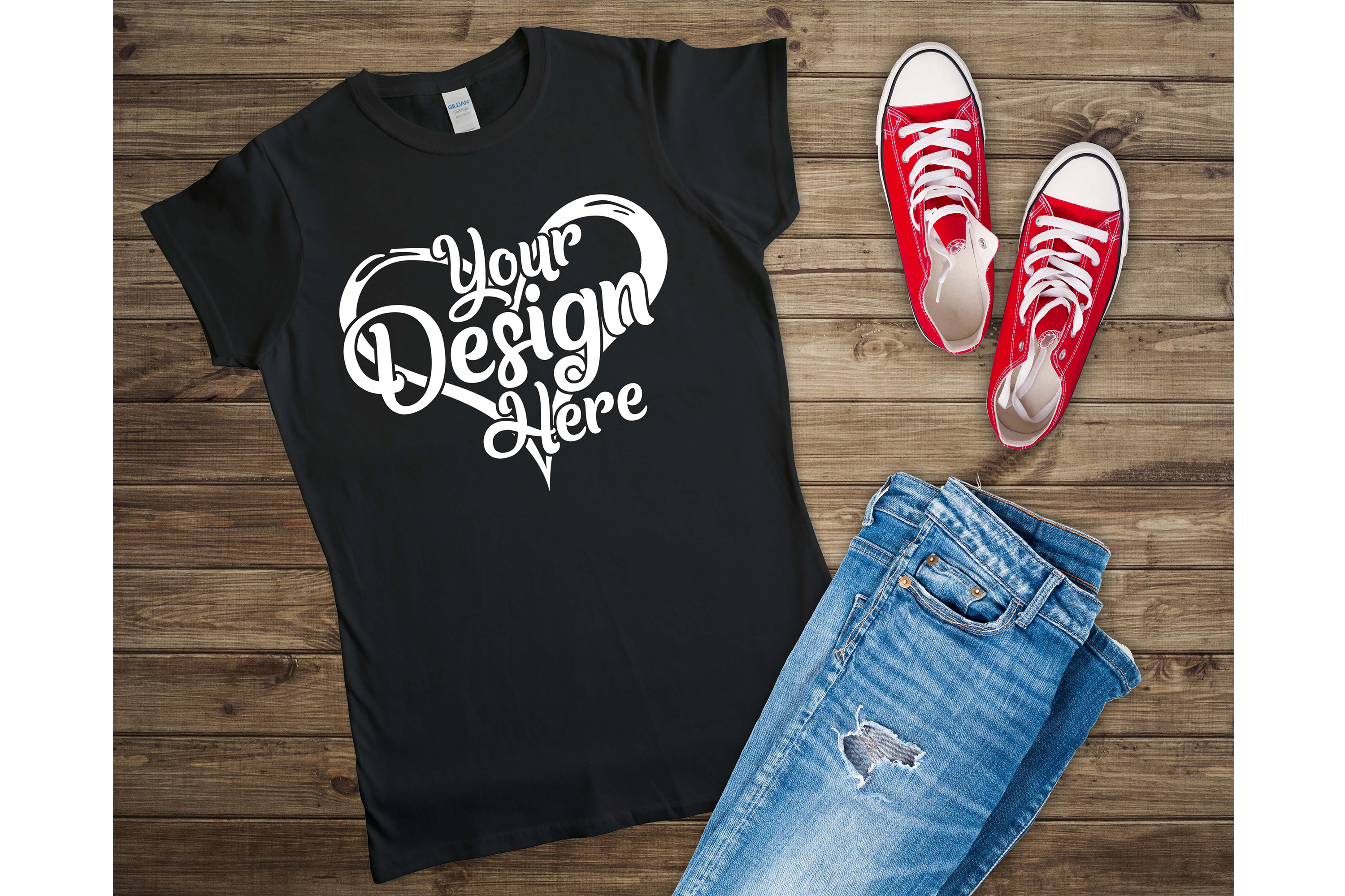 Gildan 64000L Ladies T-Shirt Mockup Bundle Flat Lay example image 3