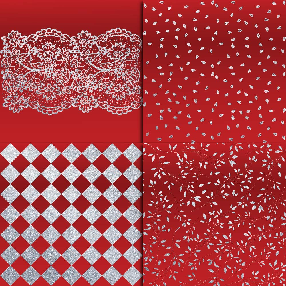 Royal Red & Silver Glitter Digital Paper example image 2