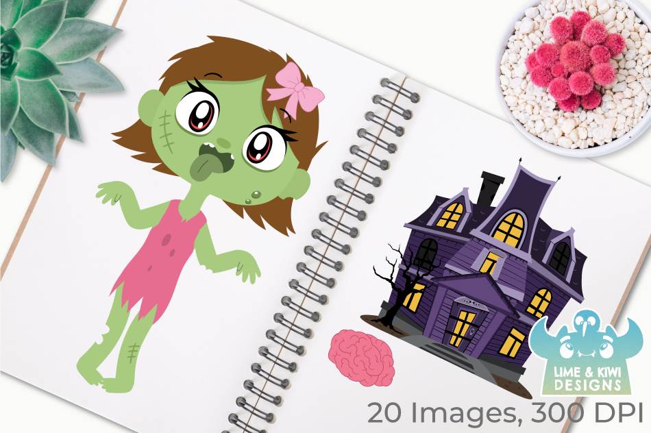 Zombie Girls Clipart, Instant Download Vector Art example image 4