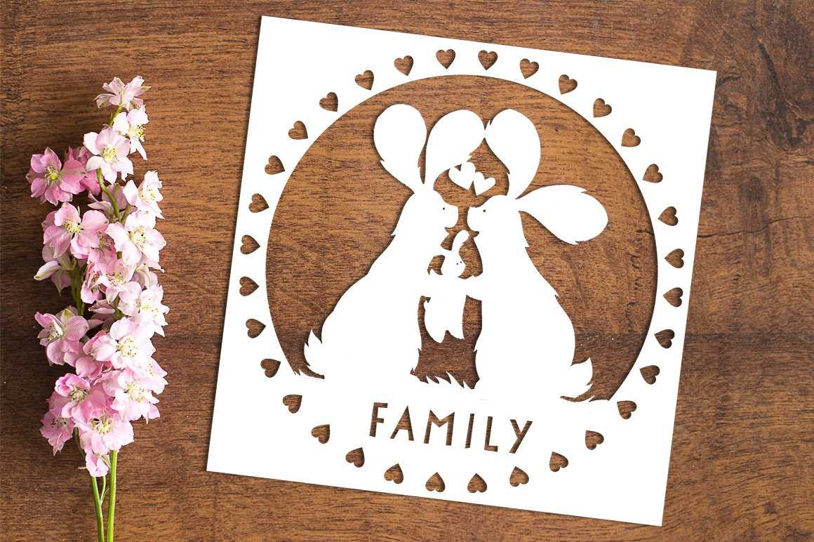Family Bunnies - Paper Cutting Template example image 1