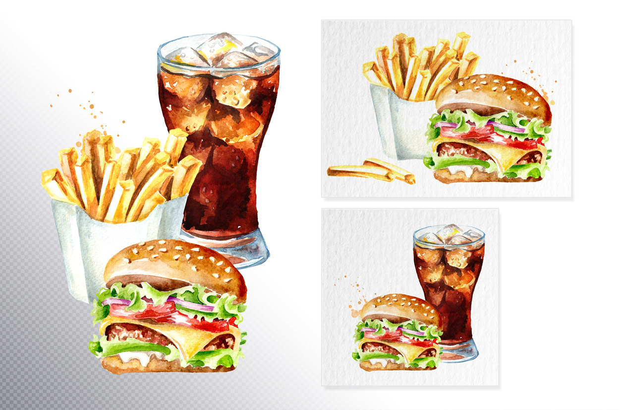 Fast food watercolor collection example image 4
