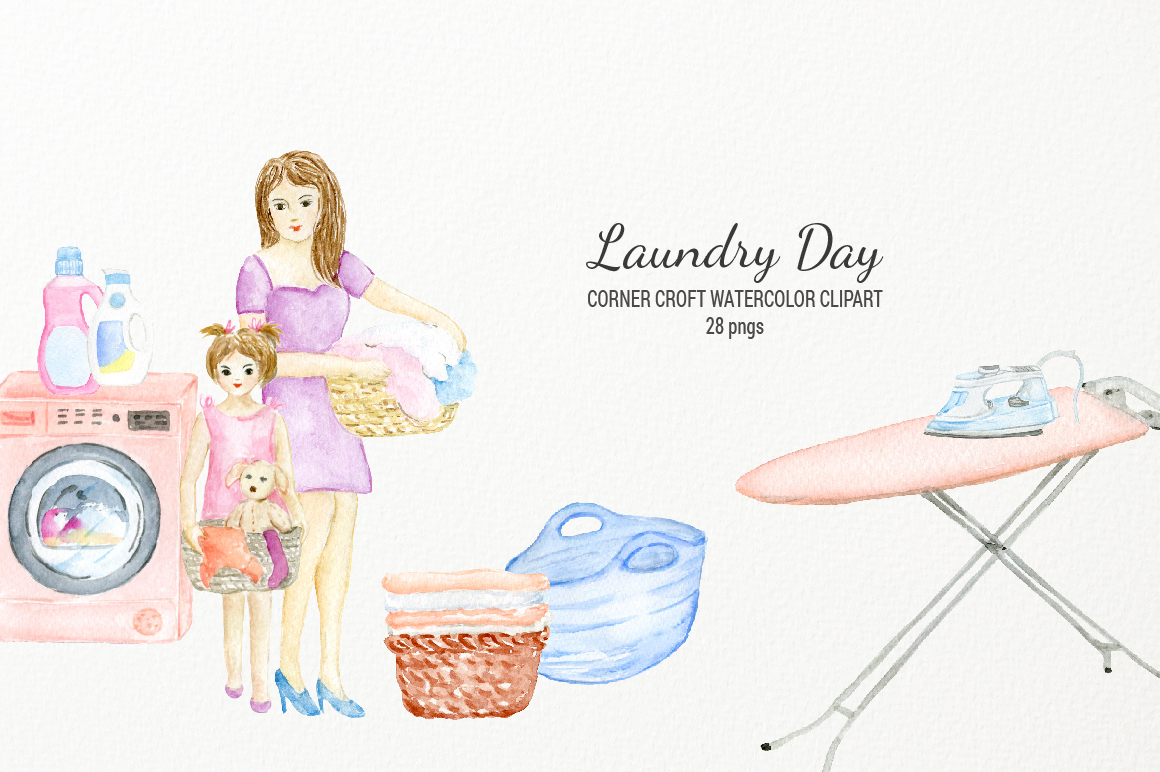 Watercolor laundry day clipart for instant download example image 3