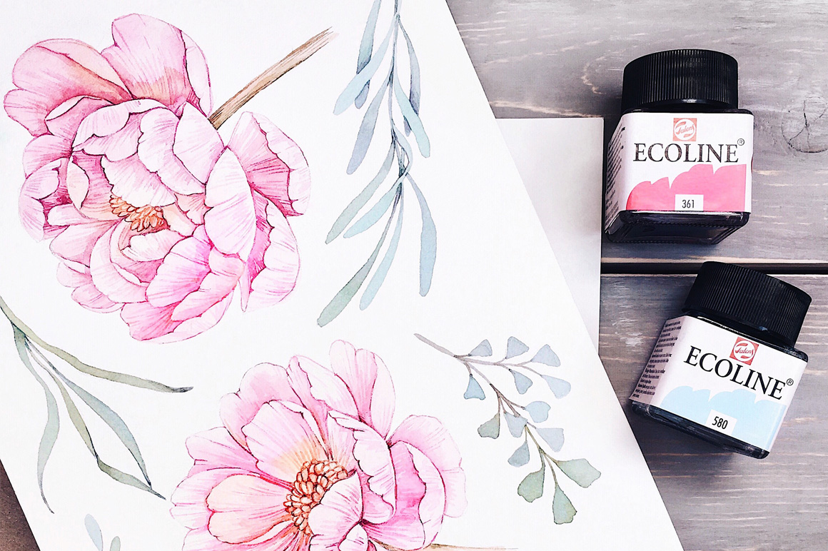 Sweet dream. Watercolor set example image 2