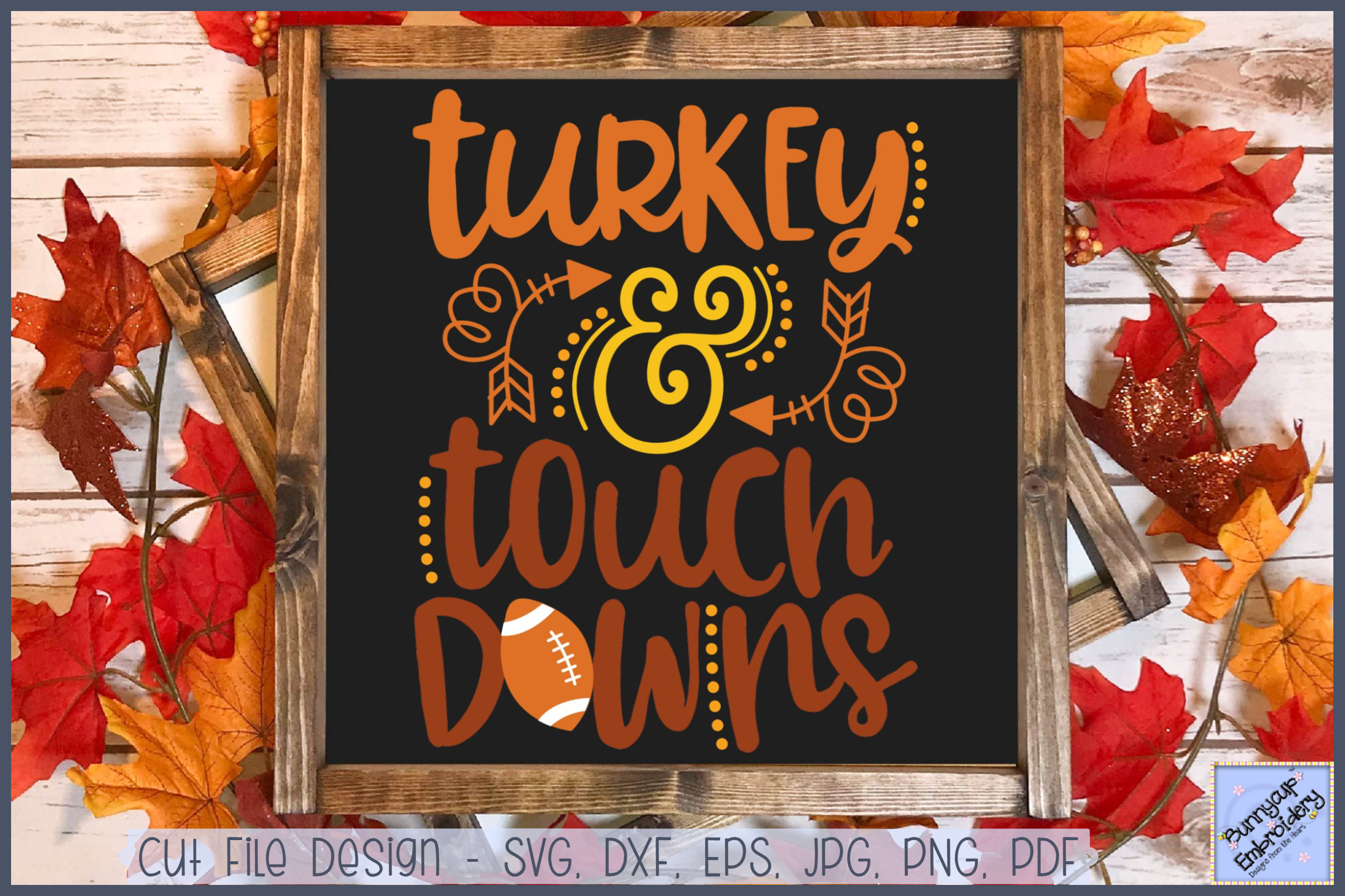 Turkey And Touch Downs- SVG, Clipart, Printable example image 1