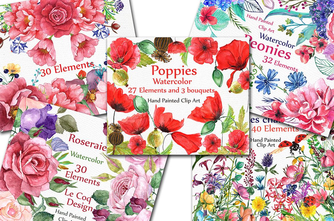 BUNDLE Watercolor floral elements example image 2