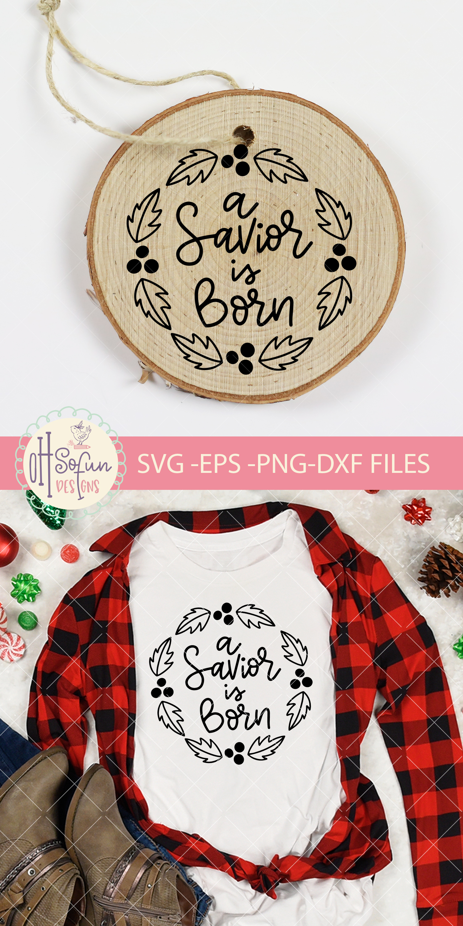 A savior is born, hand lettering Christmas ornament SVG example image 2