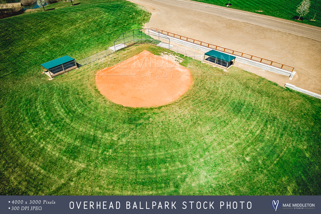 Overhead Ballpark in rural USA - stock photo example image 1