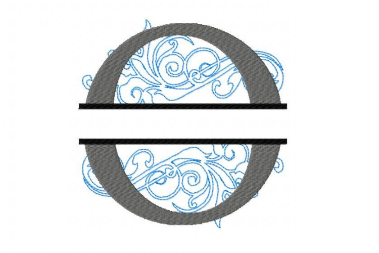 O Split Monogram Embroidery Font example image 2
