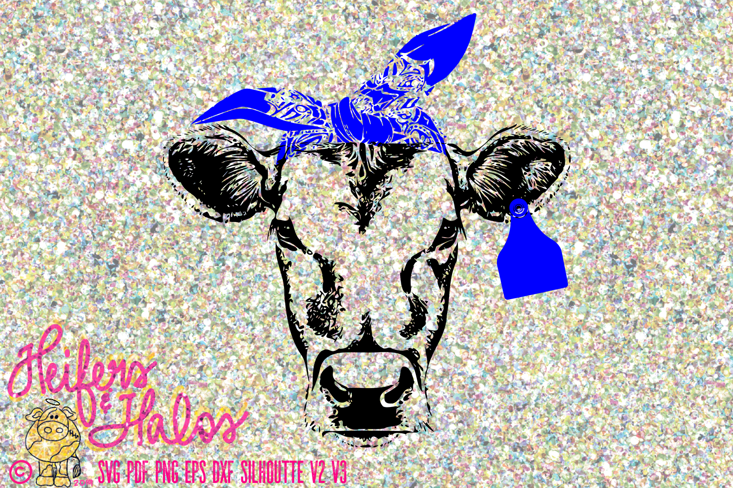 Cow Heifer with Ear Tag and Bandana example image 1
