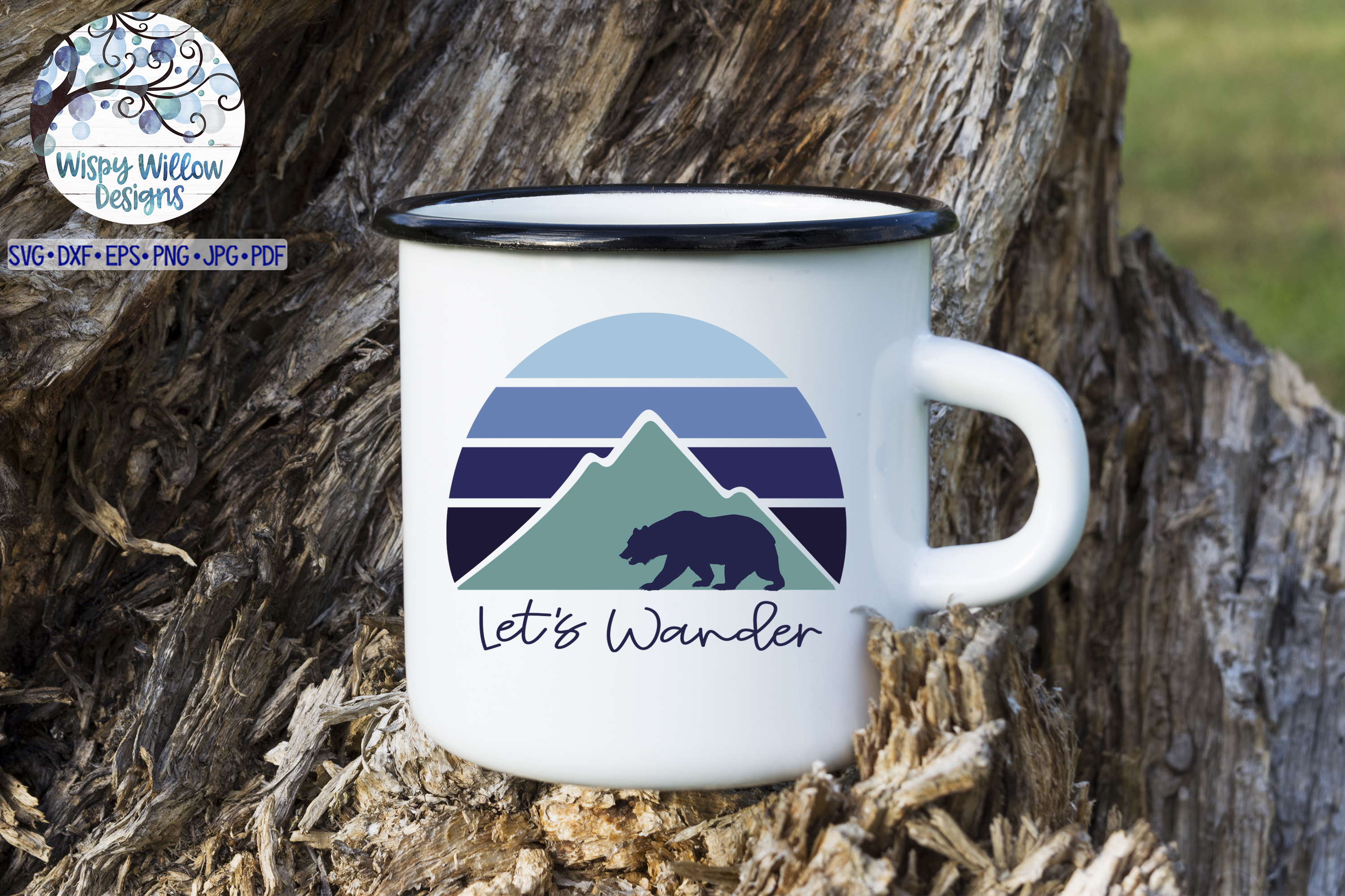 Let's Wander SVG | Mountain Sunrise and Bear SVG Cut File example image 2