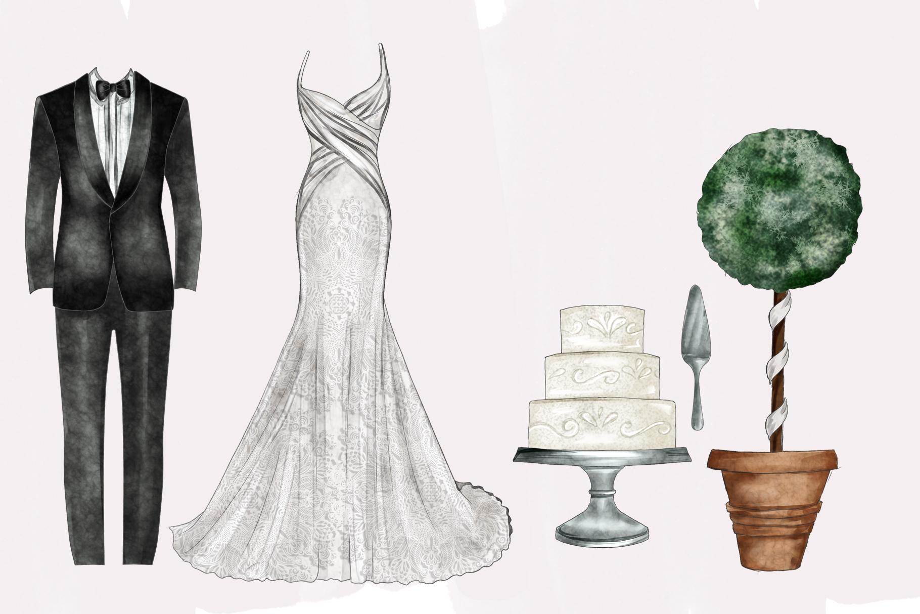 Watercolor Wedding Png set example image 4