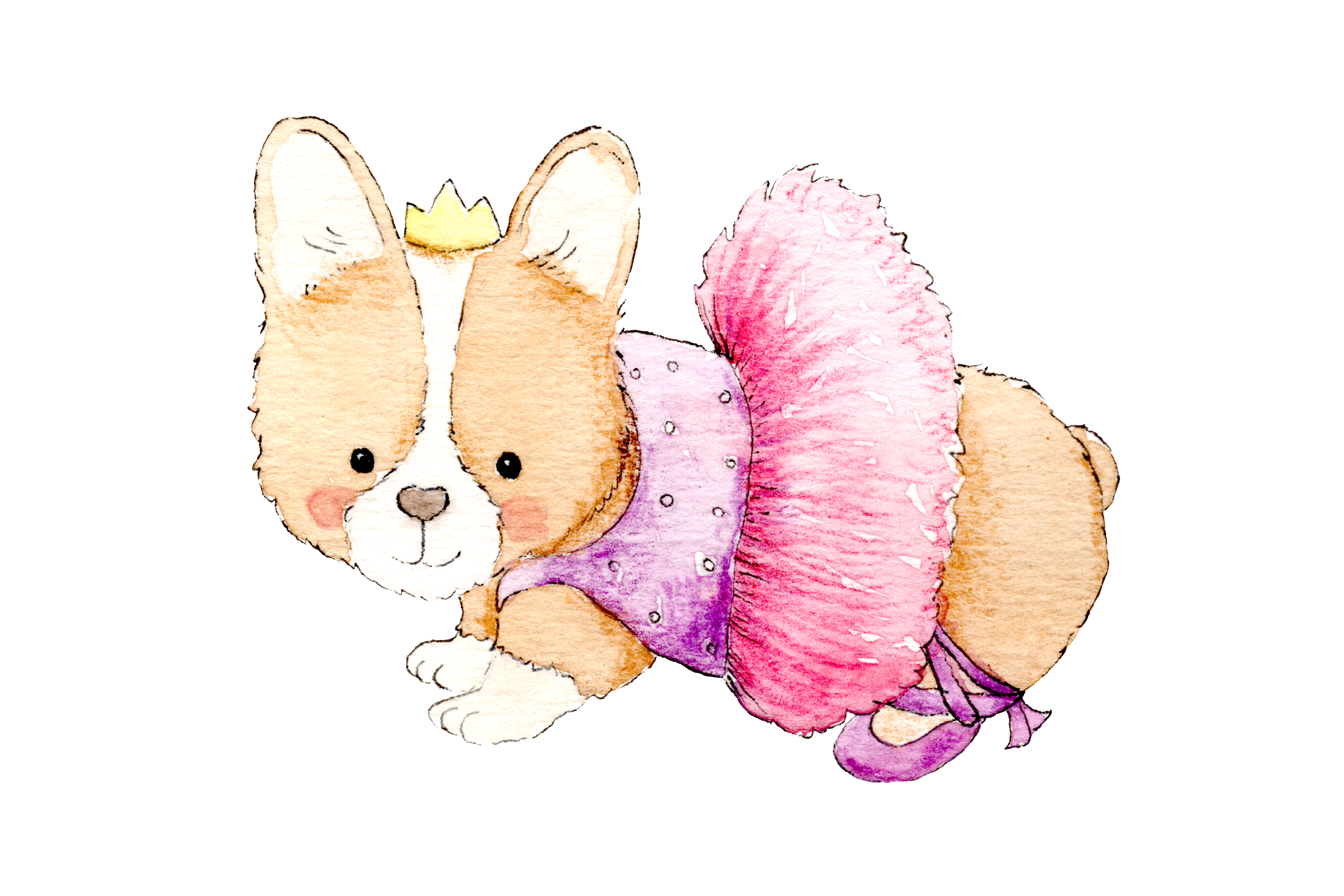 Watercolor Ballet Animals | 8 Clip Art Illustrations-PNG/JPG example image 4