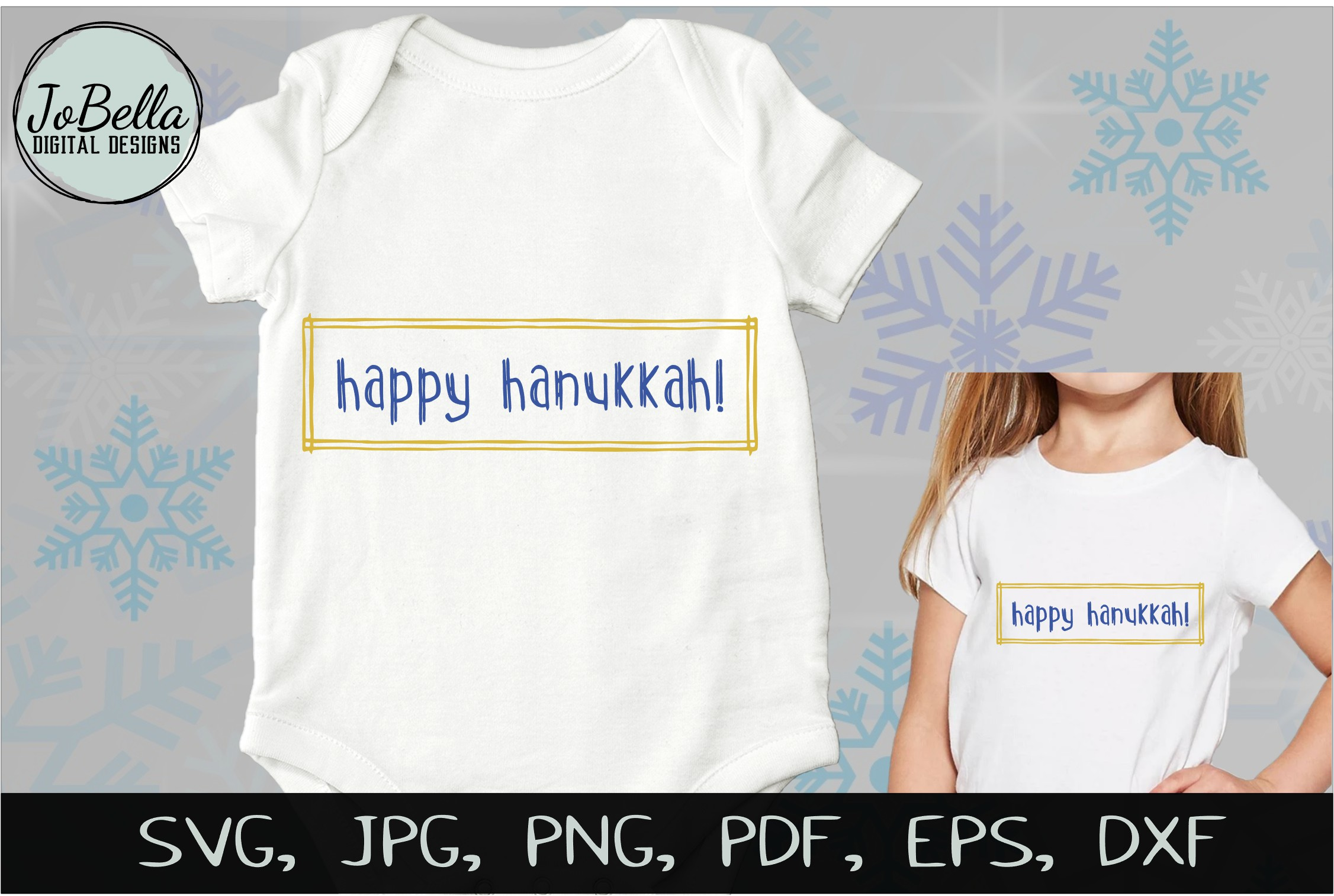 Rustic Happy Hanukkah SVG, Printable and Sublimation P example image 3