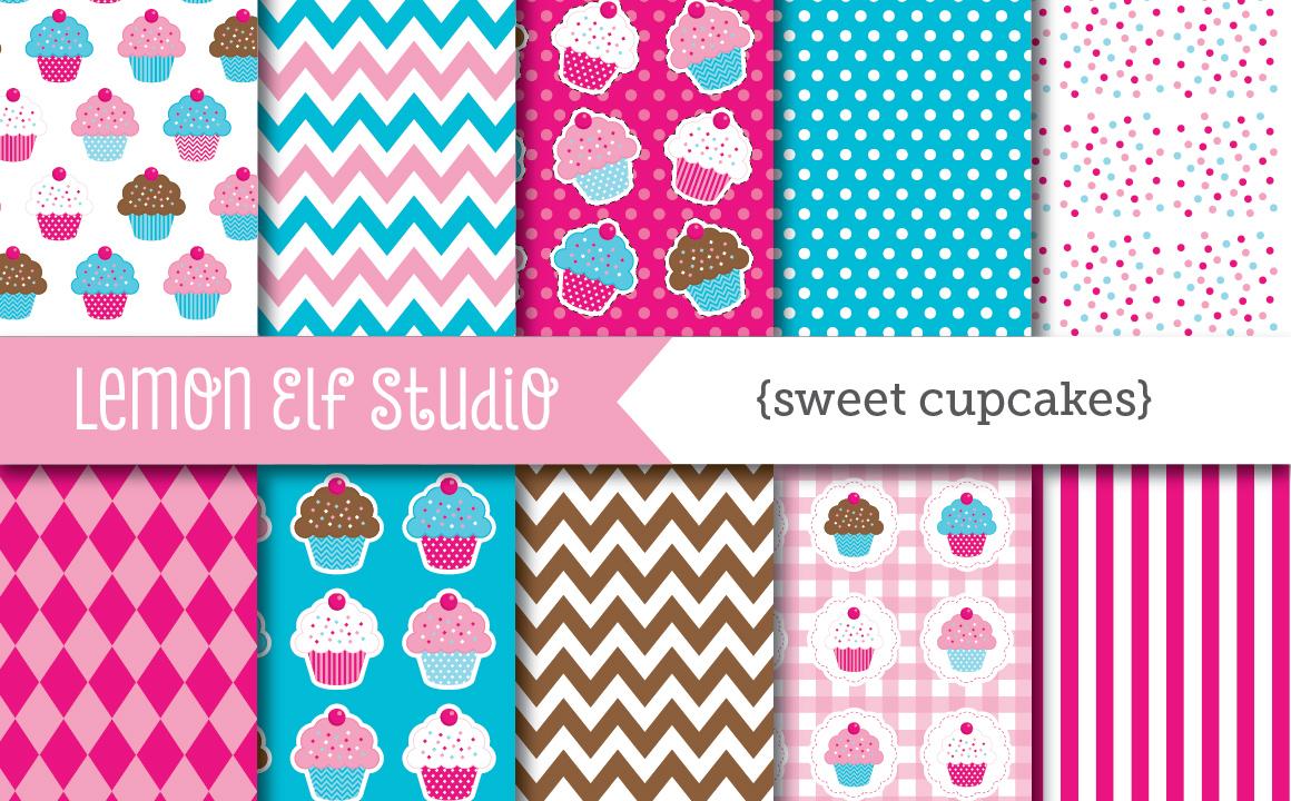 Sweet Cupcakes-Digital Paper (LES.DP04B) example image 1