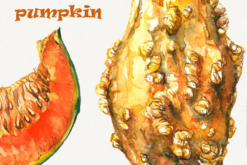 Pumpkin clipart, pumpkins clipart, watercolor pumpkin example image 3