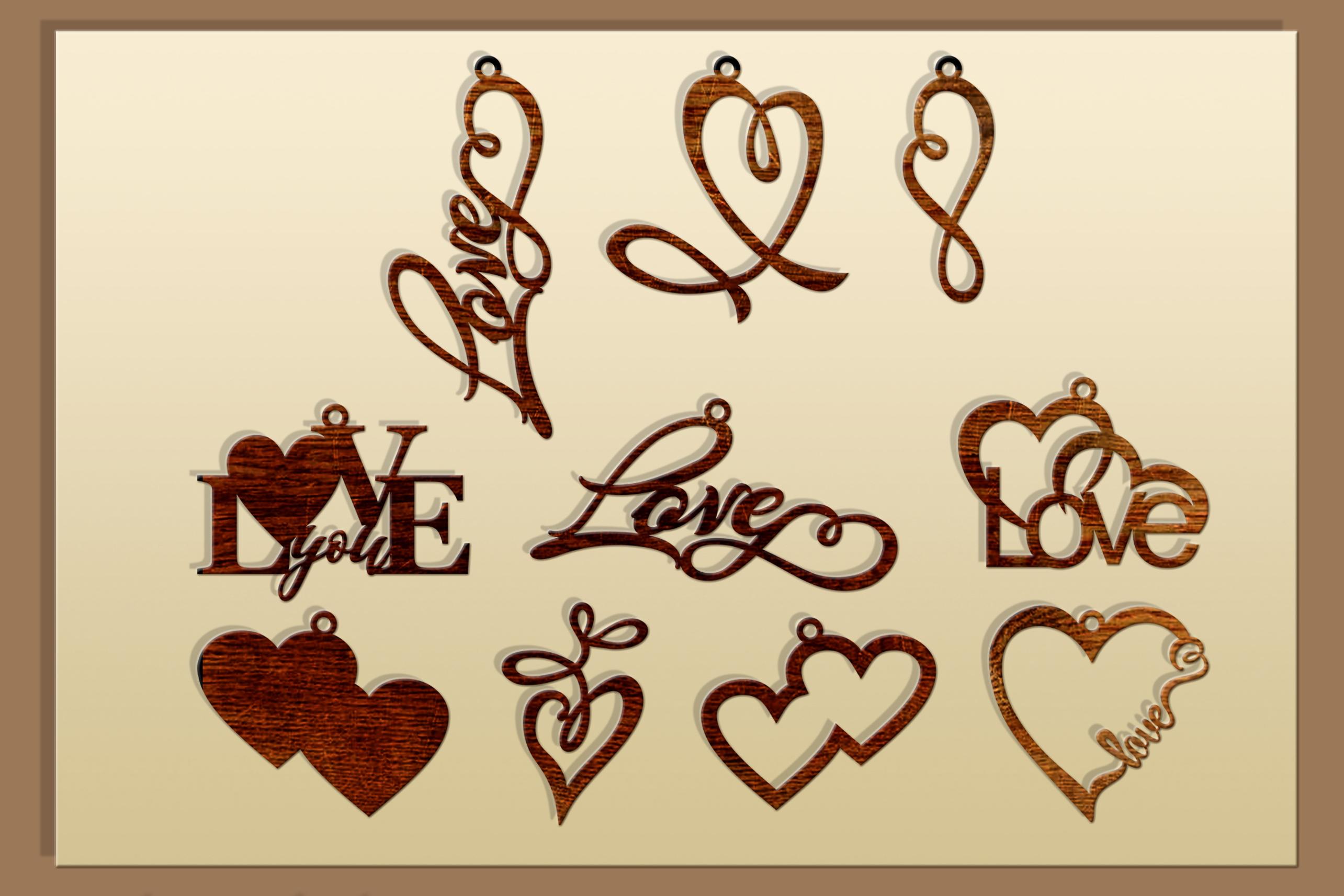 50 Leather earring bundle svg Valentine Love svg Heart example image 4