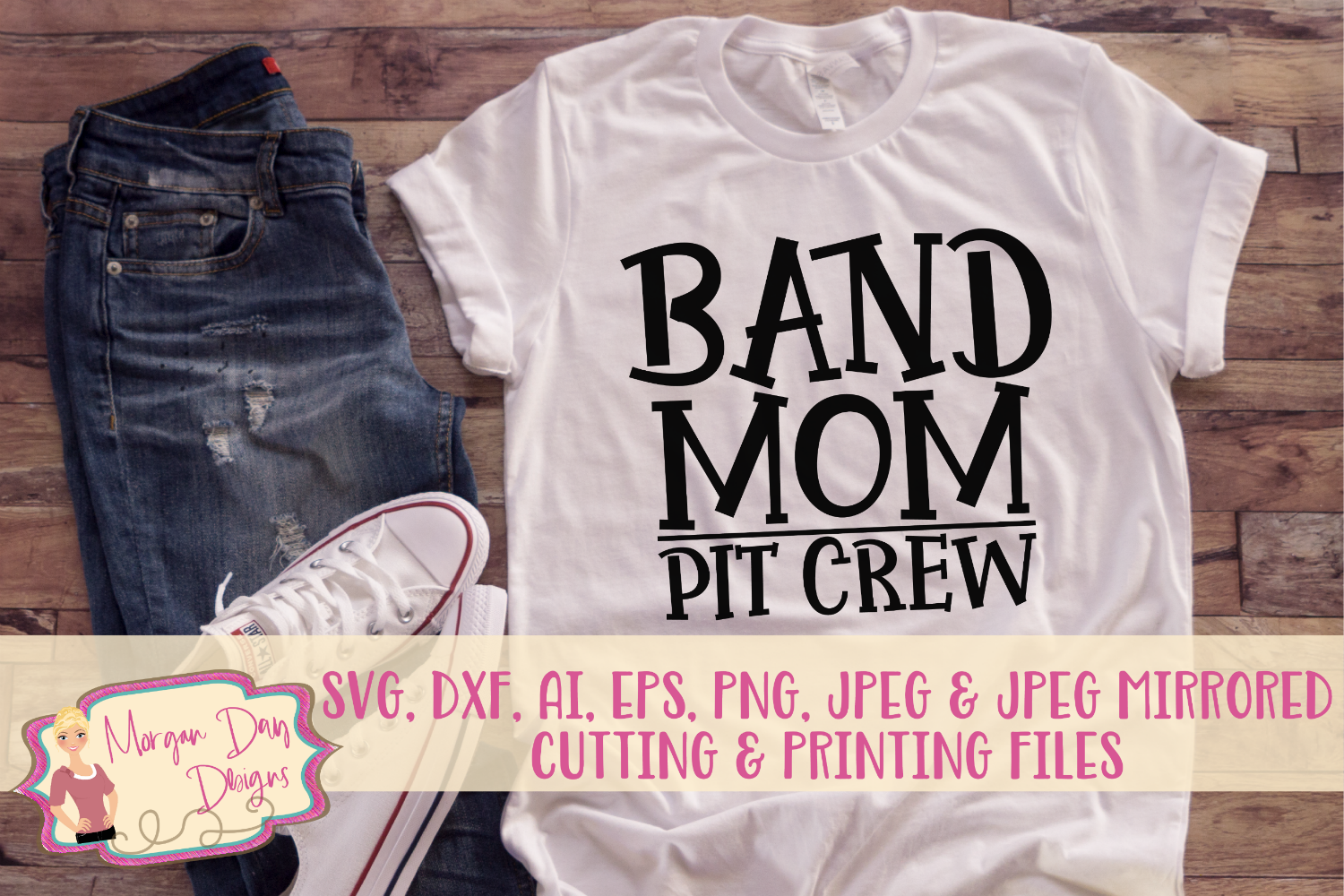Band Mom Pit Crew SVG, DXF, AI, EPS, PNG, JPEG example image 1