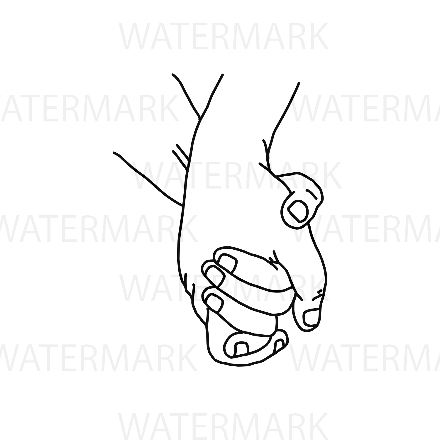 Holding Hand and walk along with love - SVG/JPG/PNG Hand Drawing example image 3